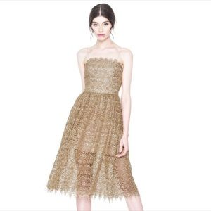 Alice + Olivia Alma Gold Sequin Tea Lace Dress Wed